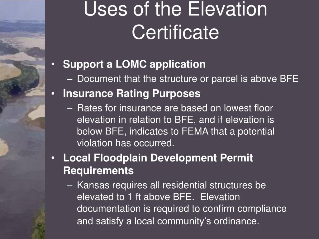 Uses of the Elevation Certificate