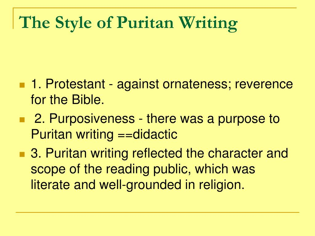The Style of Puritan Writing