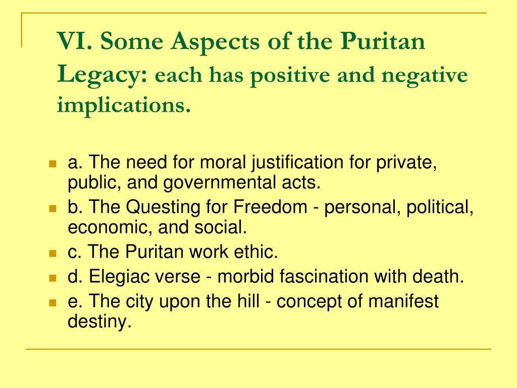 VI. Some Aspects of the Puritan Legacy: