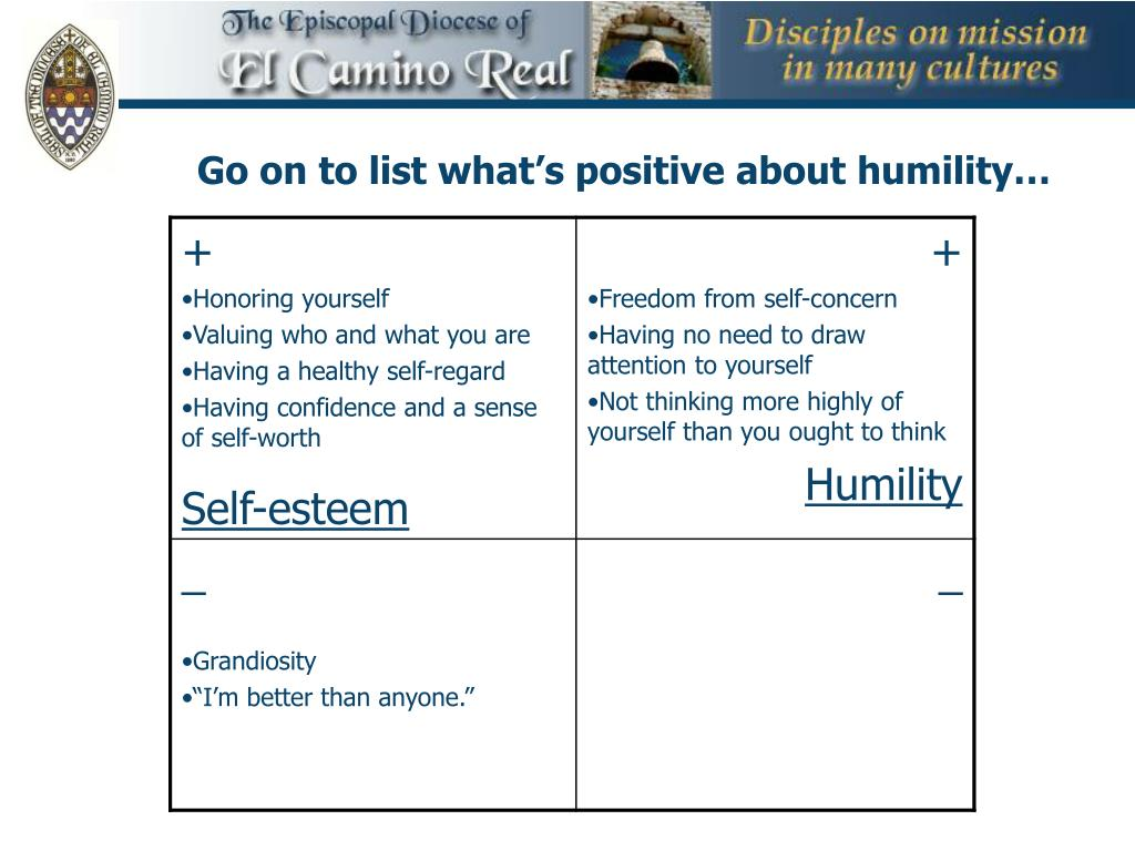 Go on to list what's positive about humility…