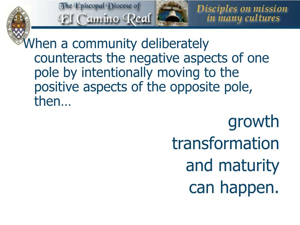 When a community deliberately counteracts the negative aspects of one pole by intentionally moving to the positive aspects of the opposite pole, then…