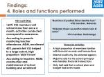 findings 4 roles and functions performed