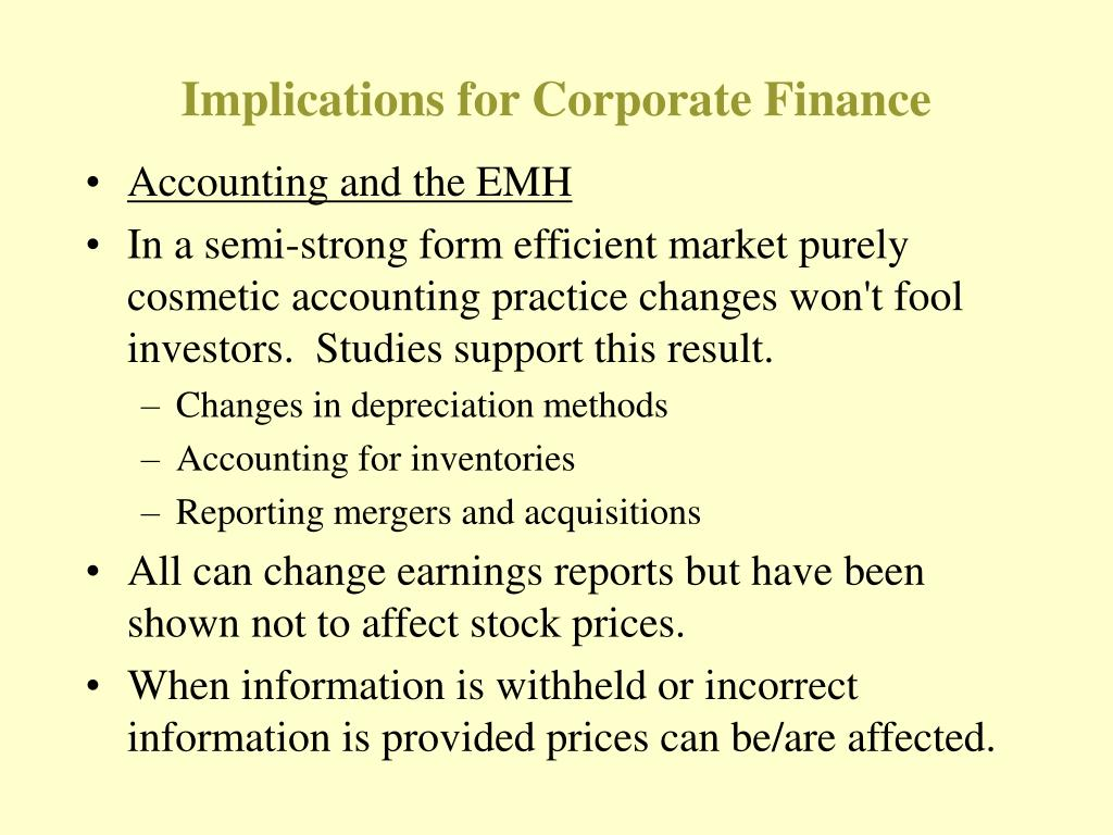 Implications for Corporate Finance