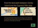 find the best path between coney island and the cypress hills stop
