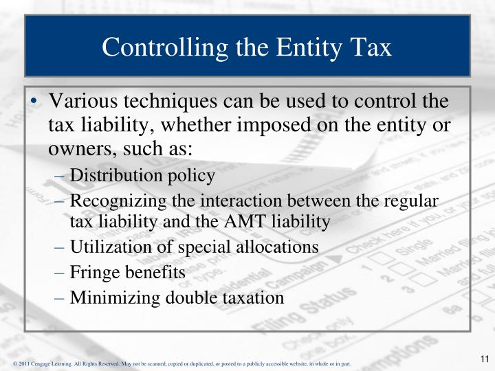 Controlling the Entity Tax