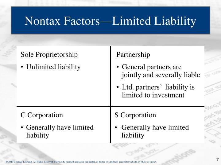 Nontax Factors—Limited Liability