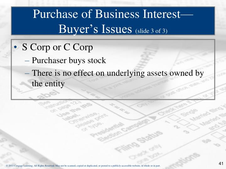 Purchase of Business Interest—Buyer's Issues