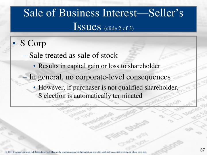 Sale of Business Interest—Seller's Issues