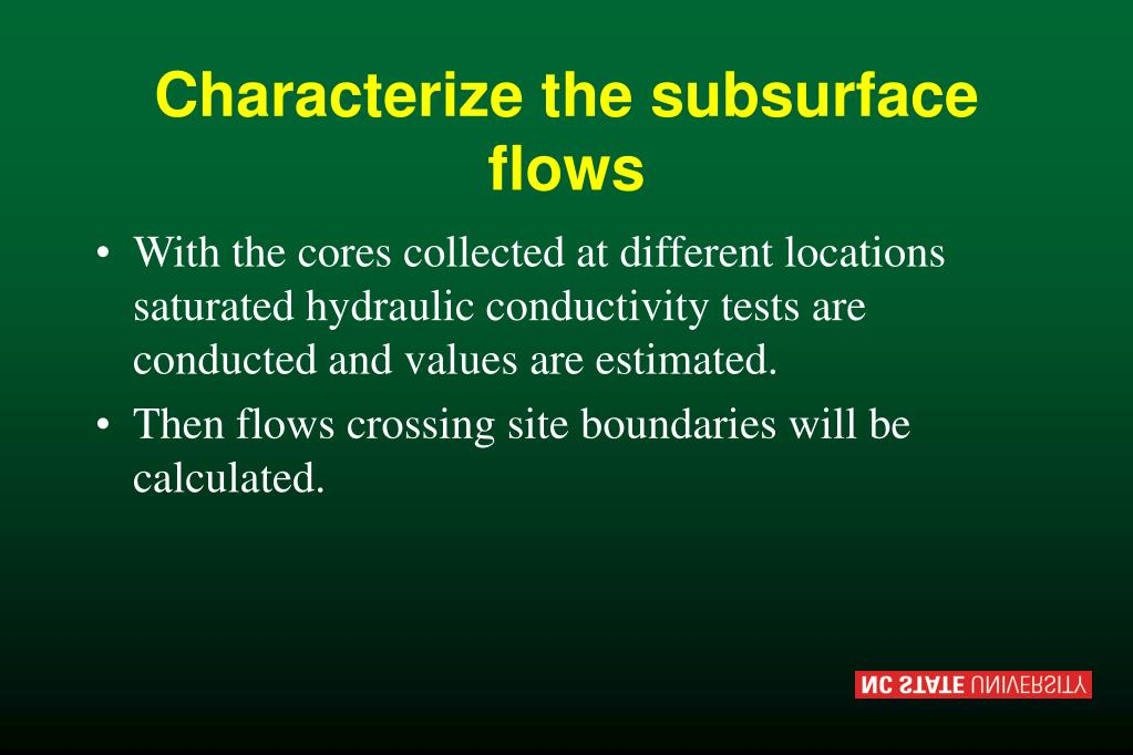 Characterize the subsurface flows