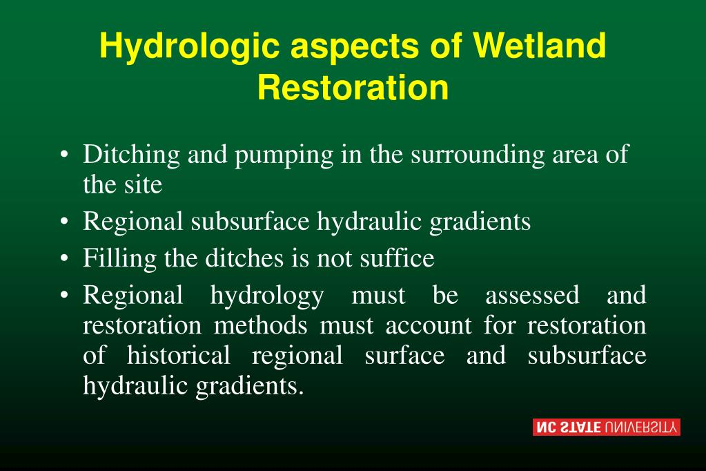 Hydrologic aspects of Wetland Restoration