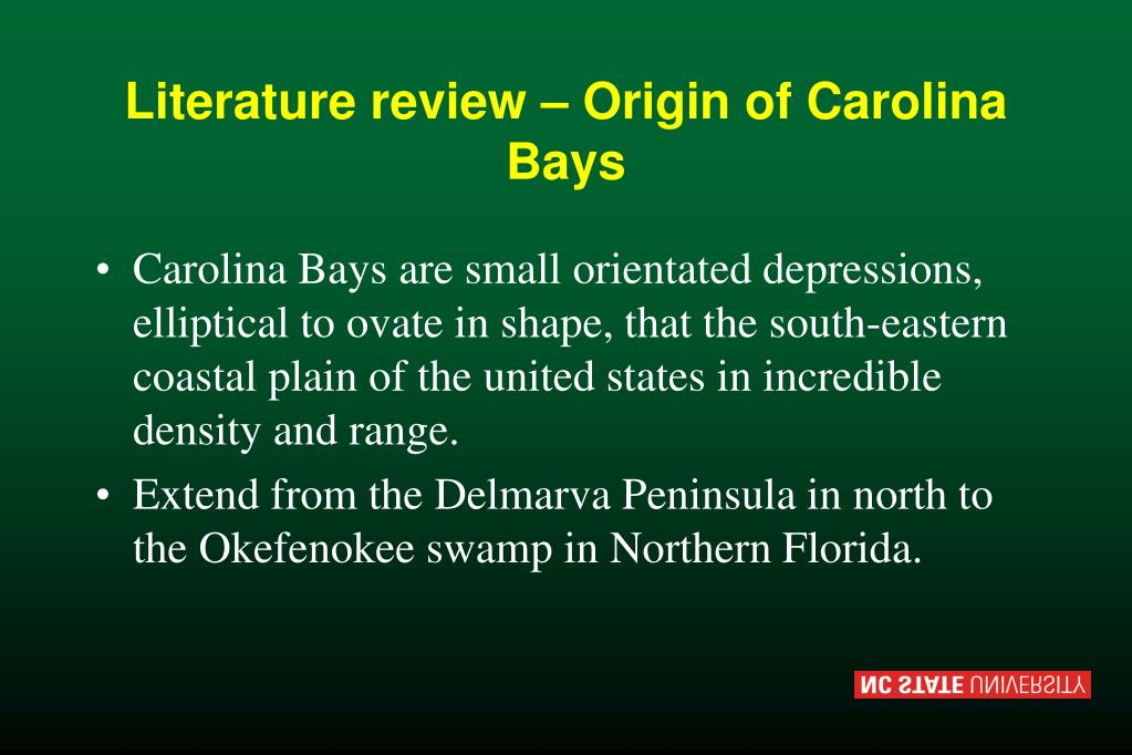 Literature review – Origin of Carolina Bays