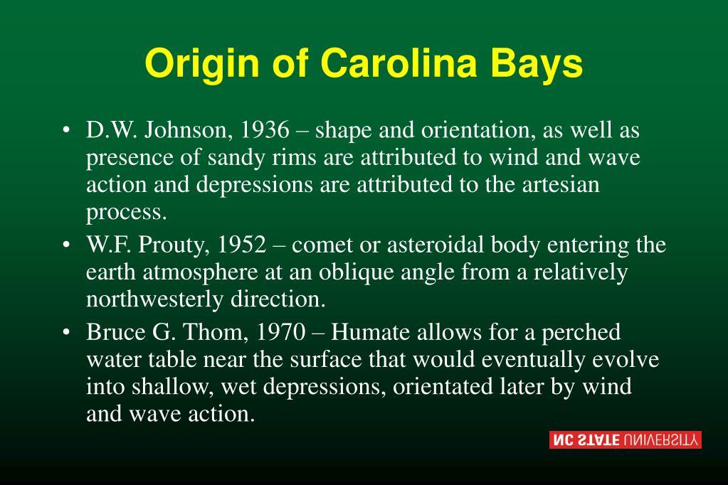 Origin of Carolina Bays