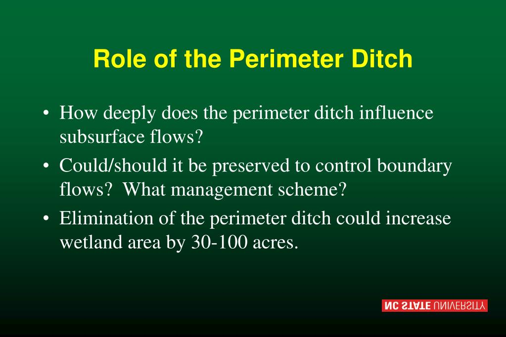 Role of the Perimeter Ditch