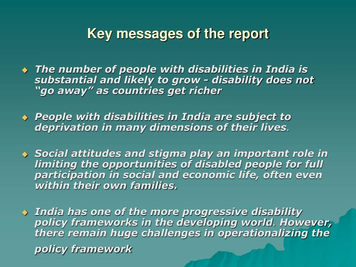 Key messages of the report