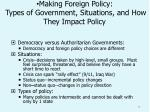 making foreign policy types of government situations and how they impact policy