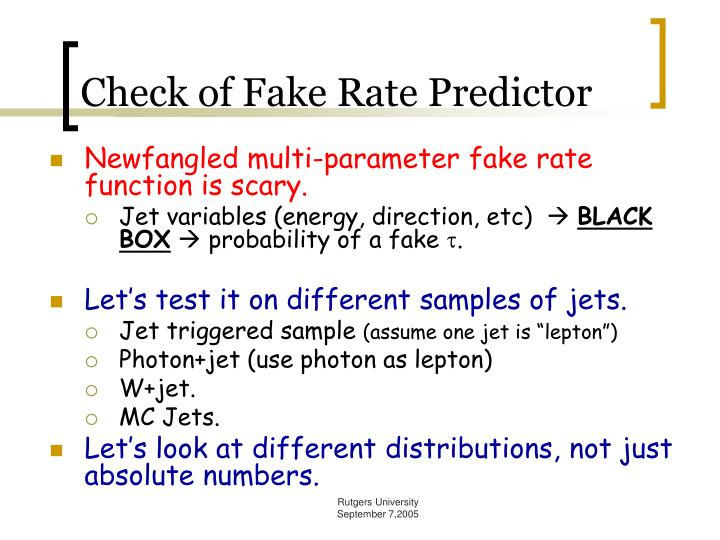 Check of Fake Rate Predictor