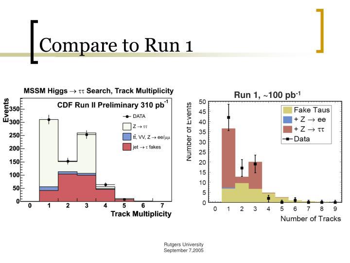 Compare to Run 1