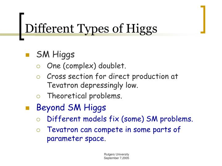 Different Types of Higgs