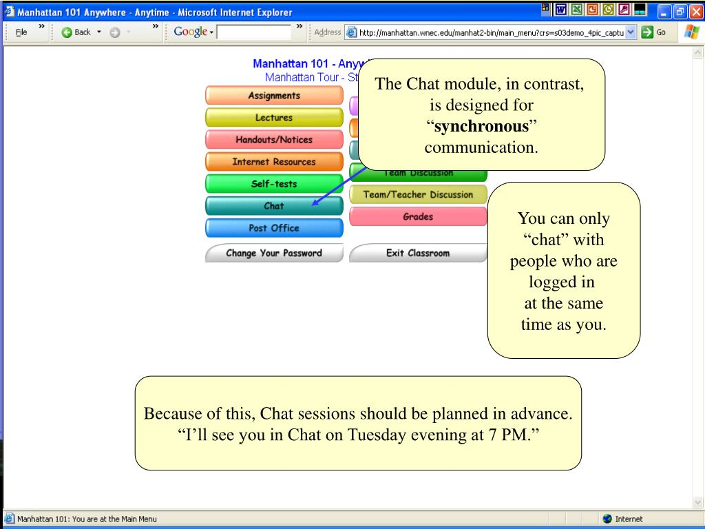 The Chat module, in contrast,