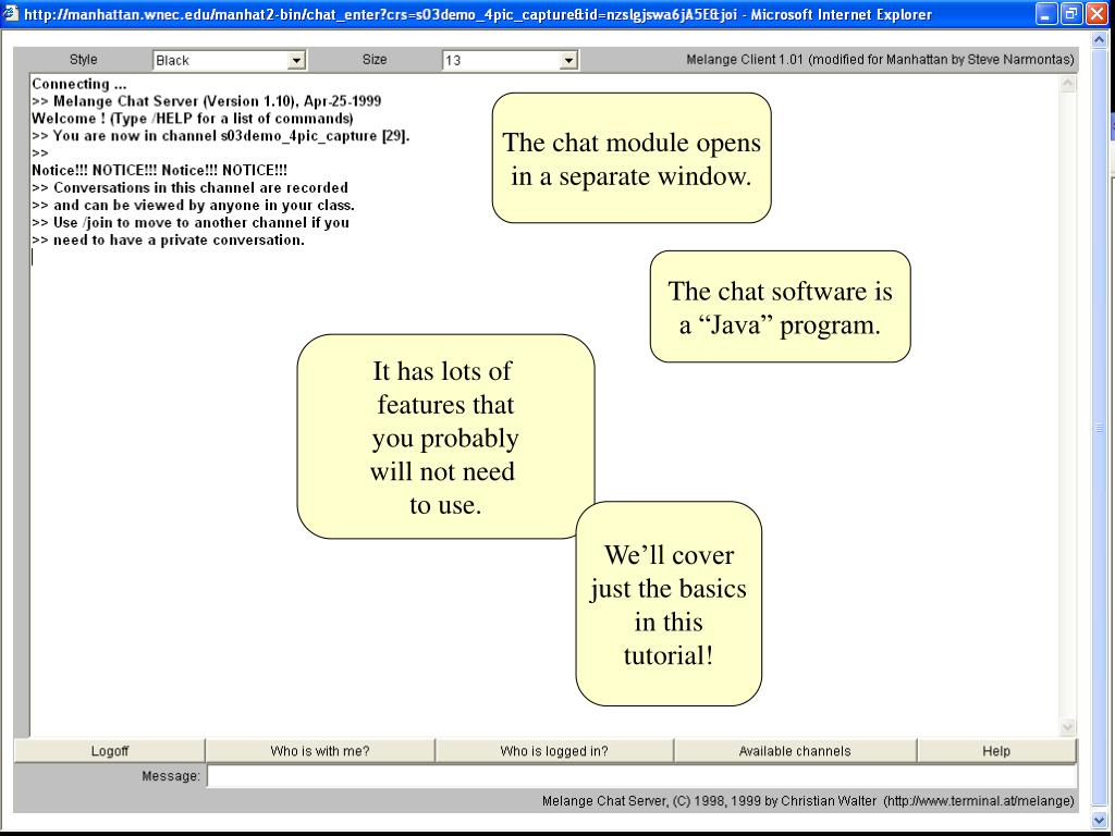 The chat module opens