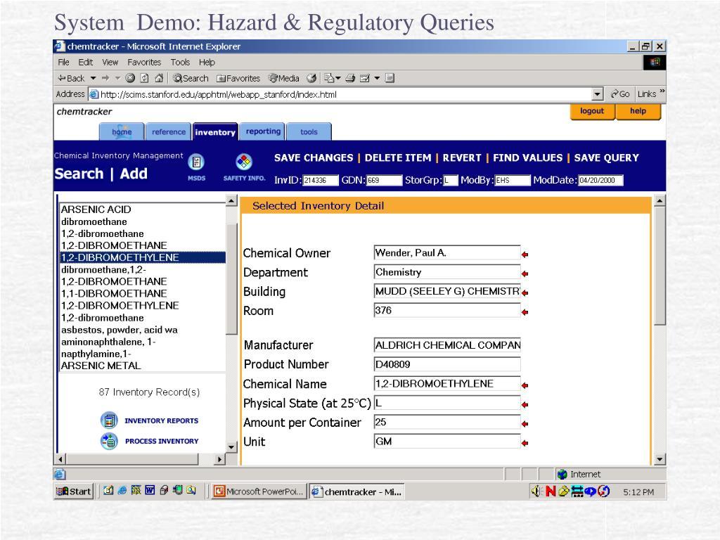 System  Demo: Hazard & Regulatory Queries