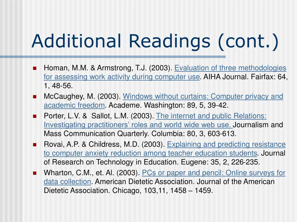 Additional Readings (cont.)