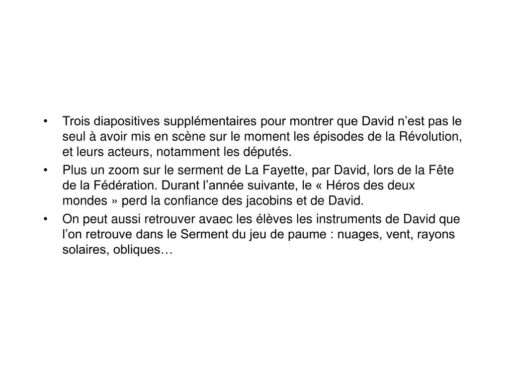 Trois diapositives supplémentaires pour montrer que David n'est pas le seul à avoir mis en scène sur le moment les épisodes de la Révolution, et leurs acteurs, notamment les députés.