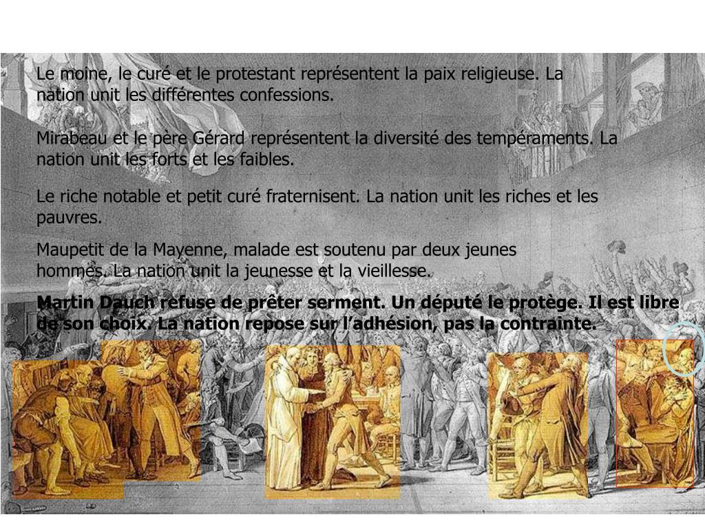 Le moine, le curé et le protestant représentent la paix religieuse. La nation unit les différentes confessions.