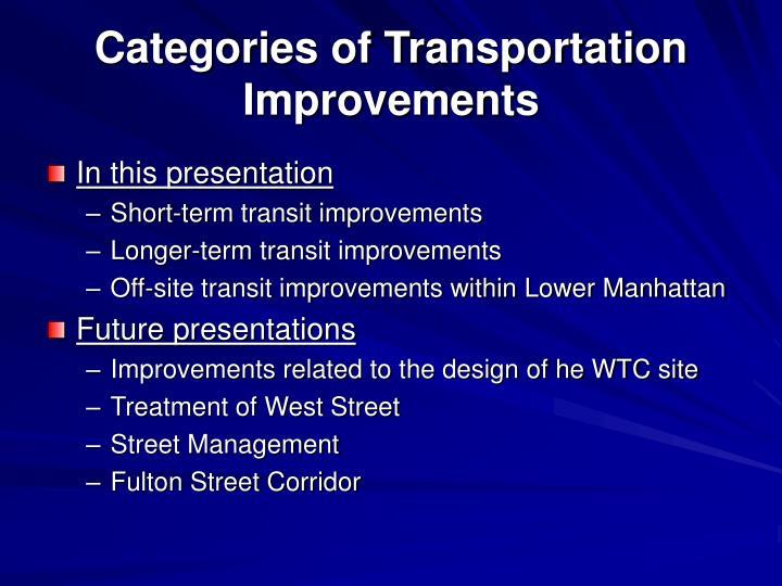 Categories of transportation improvements
