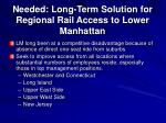 needed long term solution for regional rail access to lower manhattan