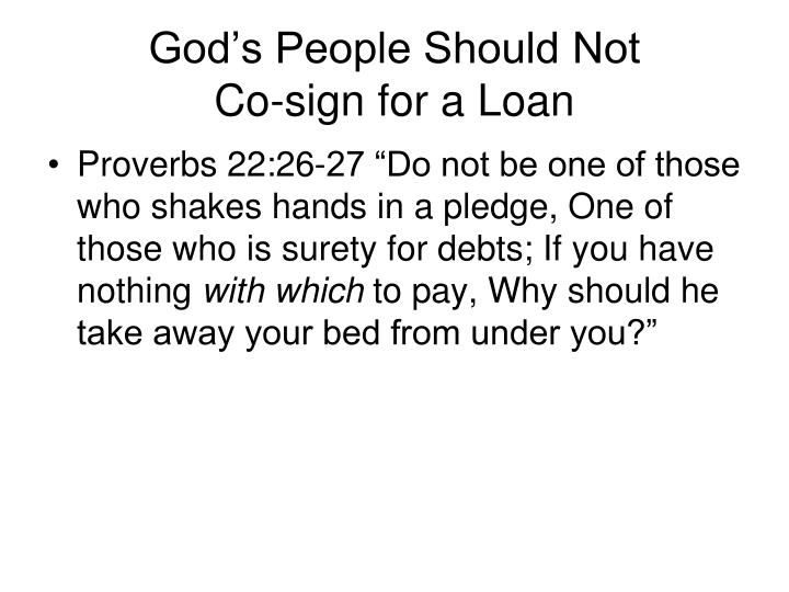 God's People Should Not