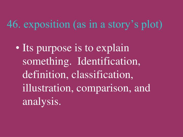 46. exposition (as in a story's plot)
