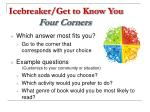 icebreaker get to know you four corners