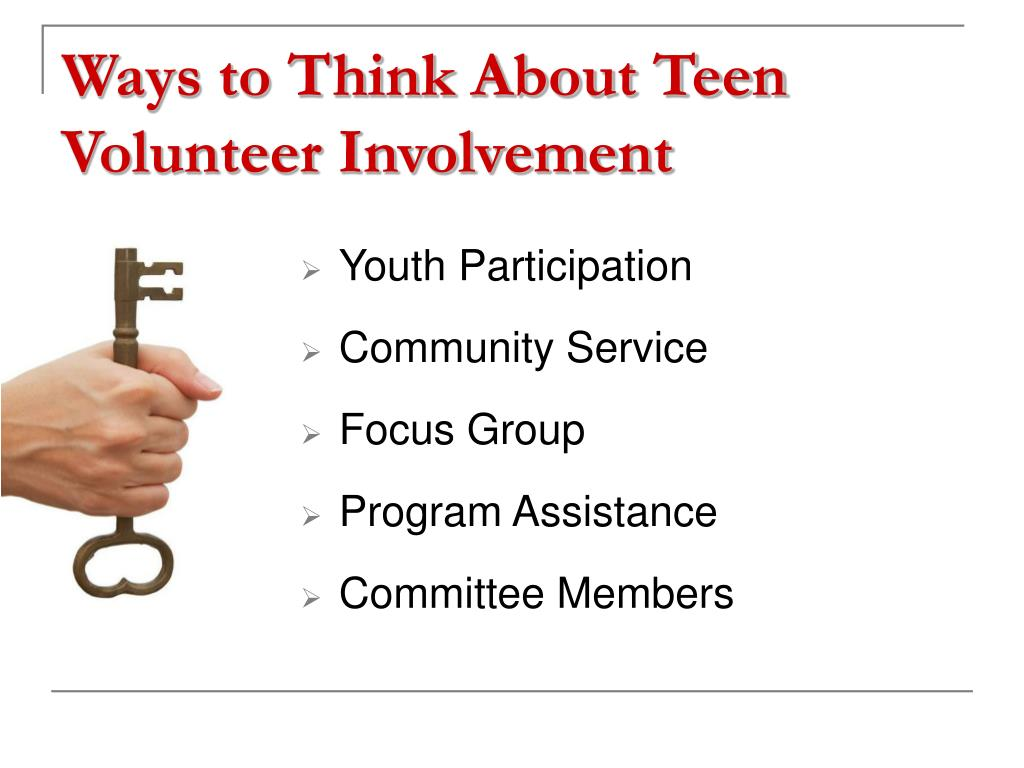 Ways to Think About Teen Volunteer Involvement