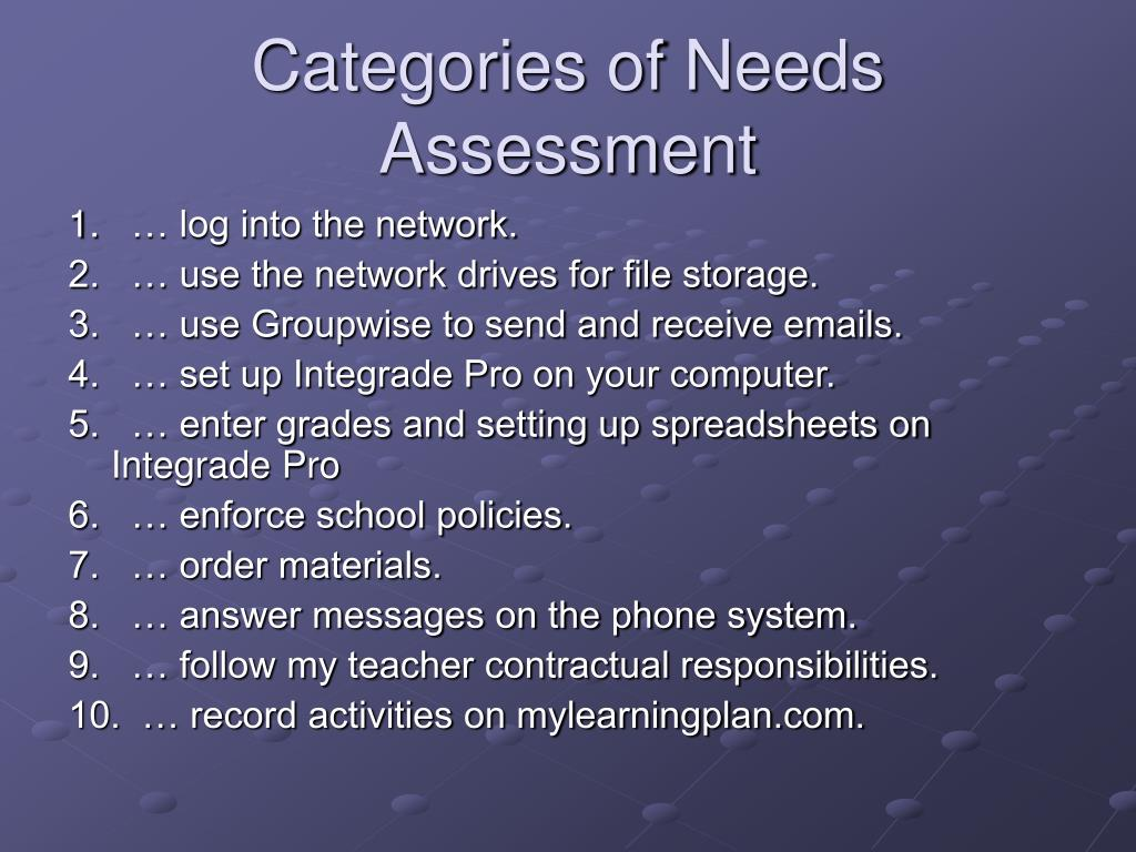Categories of Needs Assessment