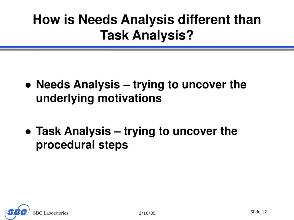How is Needs Analysis different than Task Analysis?
