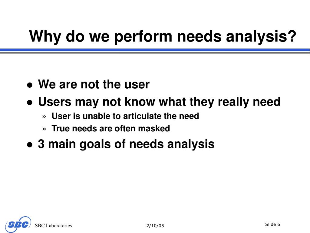 Why do we perform needs analysis?