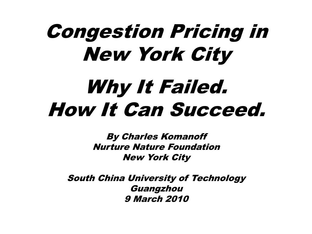 congestion pricing in new york city l.