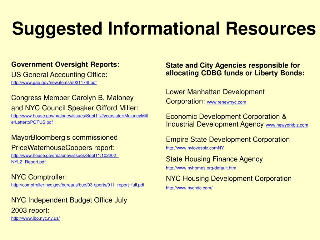 Suggested Informational Resources