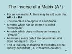 the inverse of a matrix a 1