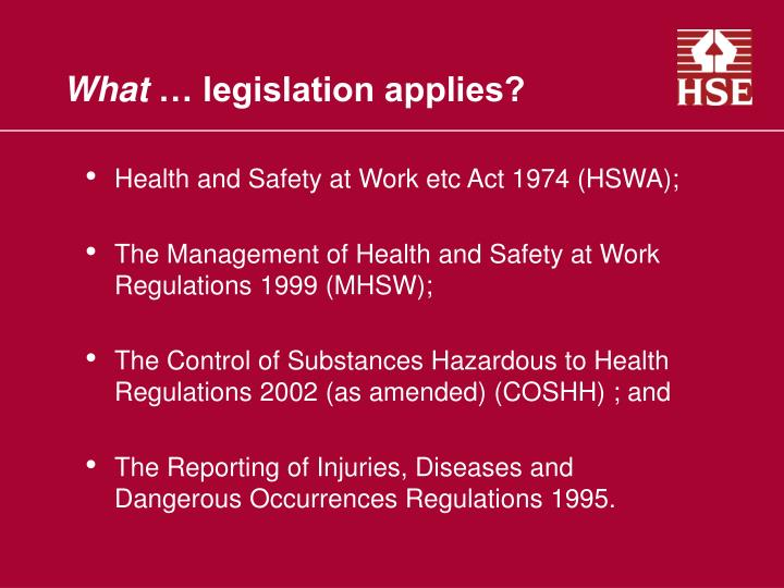 Health and Safety at Work etc Act 1974 (HSWA);