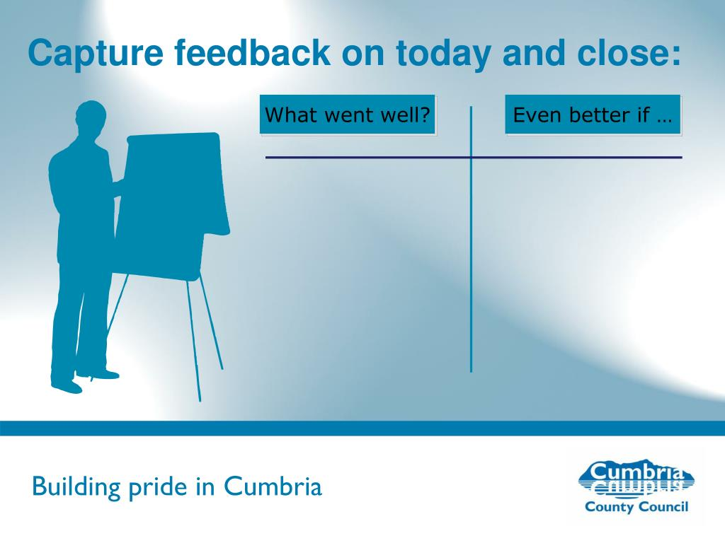 Capture feedback on today and close: