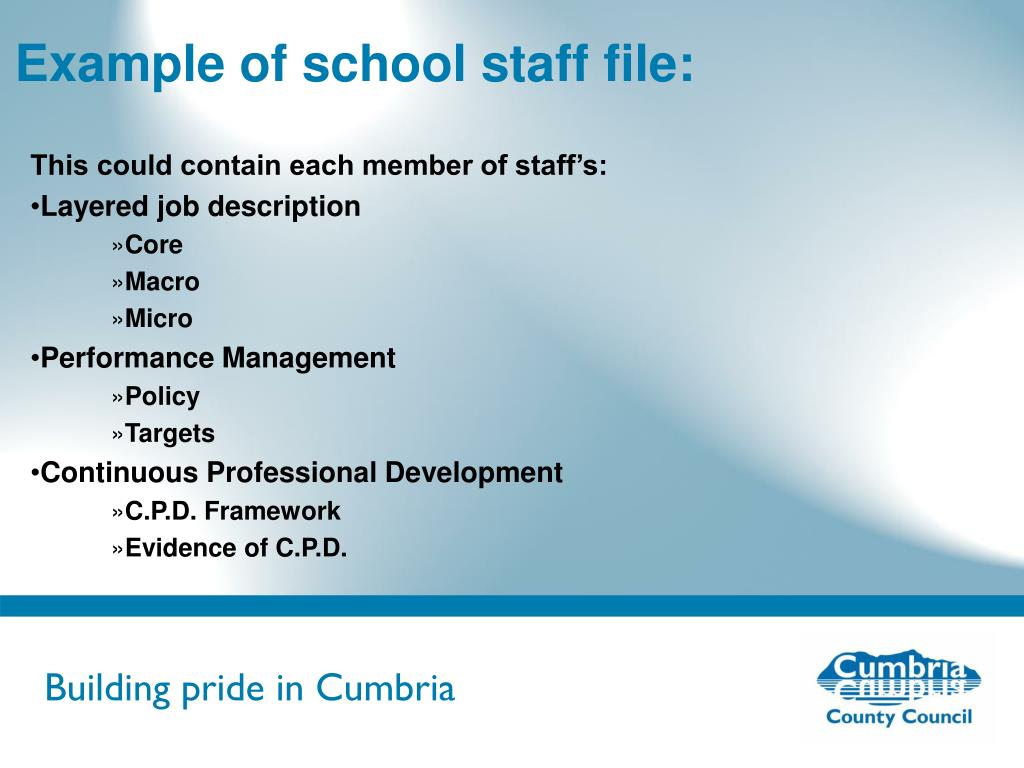 Example of school staff file: