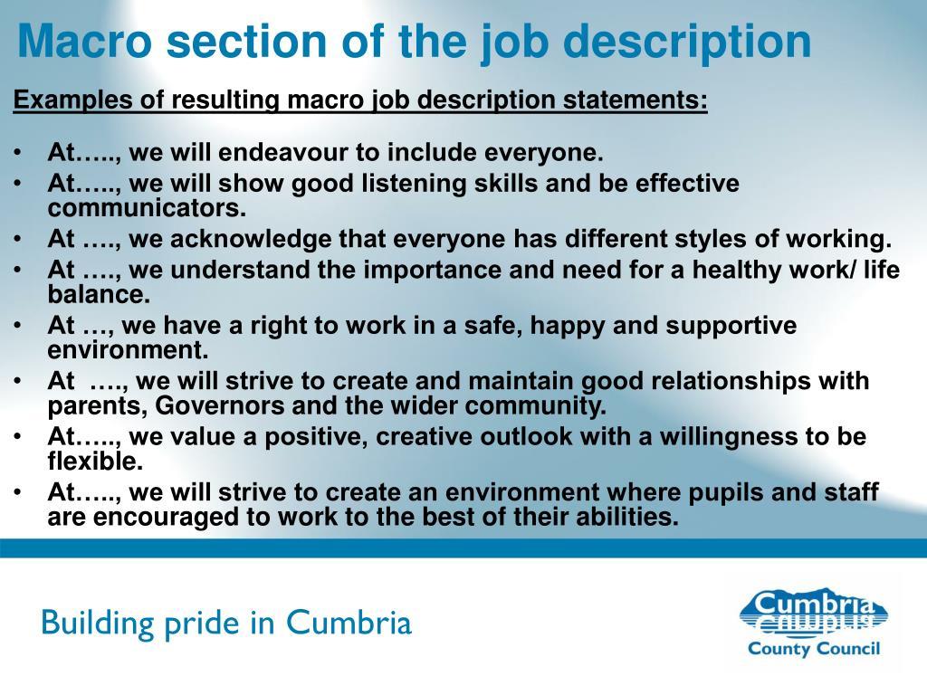 Macro section of the job description
