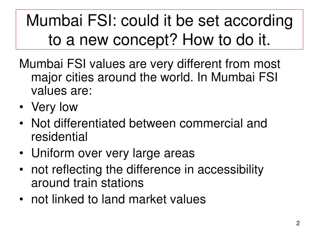 Mumbai FSI: could it be set according to a new concept? How to do it.
