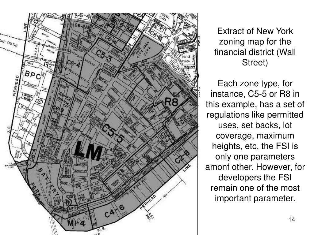 Extract of New York zoning map for the financial district (Wall Street)