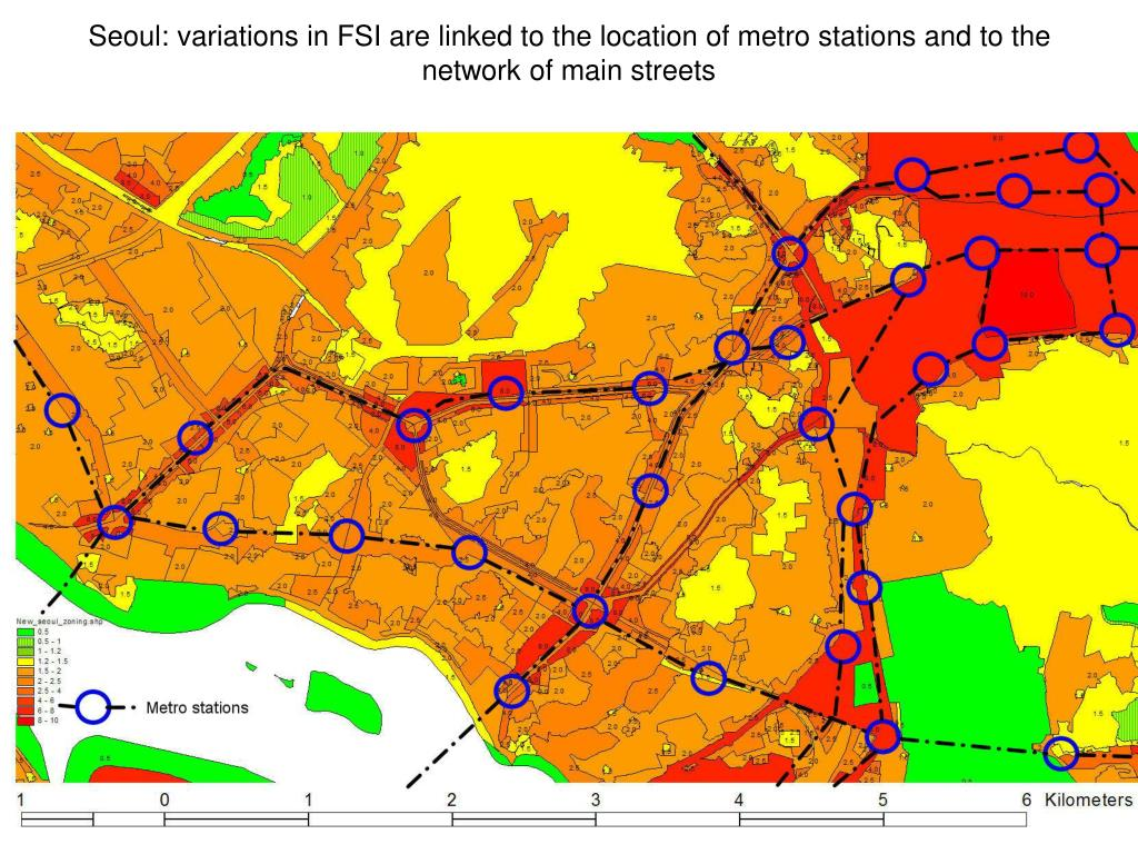 Seoul: variations in FSI are linked to the location of metro stations and to the network of main streets