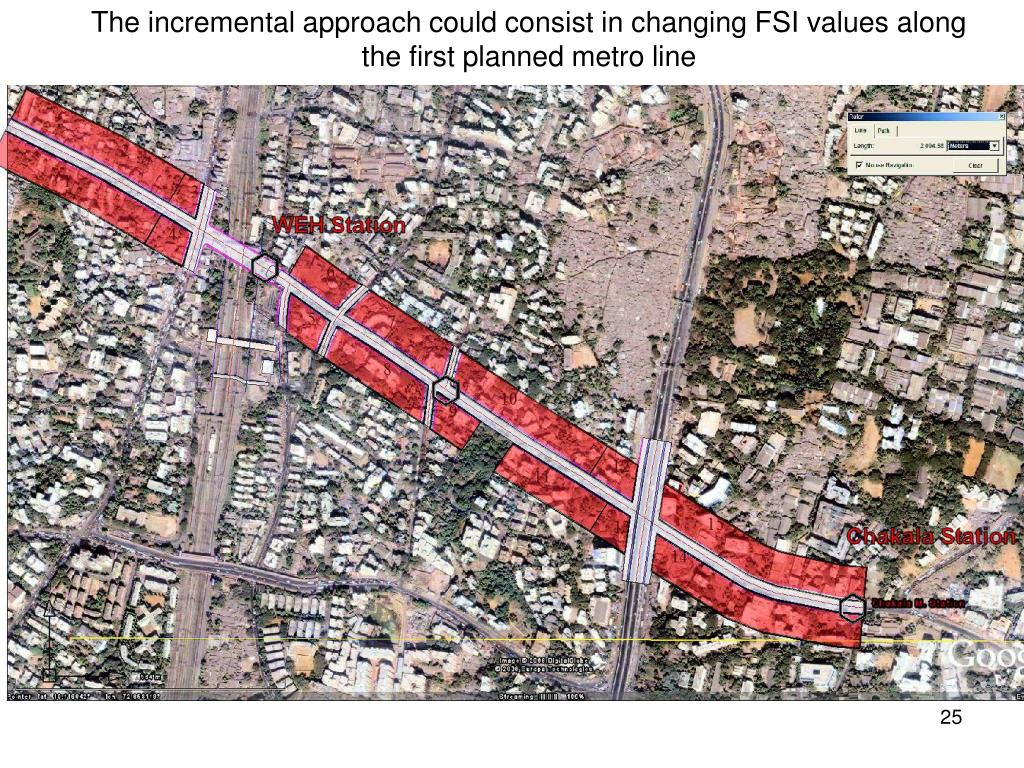 The incremental approach could consist in changing FSI values along the first planned metro line