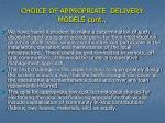choice of appropriate delivery models cont