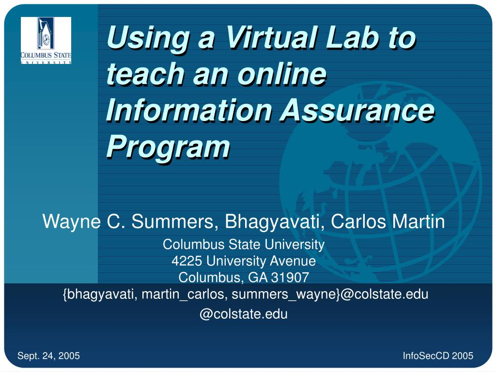 using a virtual lab to teach an online information assurance program l.